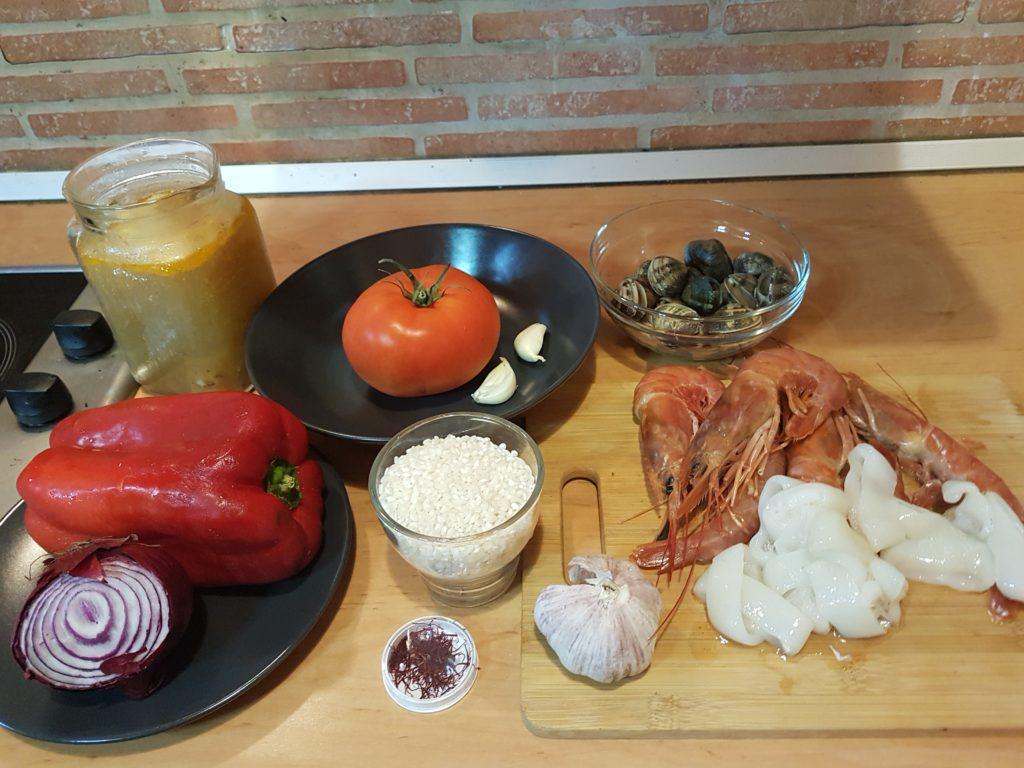 ingredientes para paella marinera o de marisco